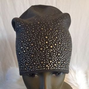 Gray Crystal Embellished Beanie Hat